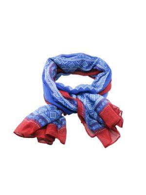 Mariusmønstret skjerf, blå/hvit/rød 11