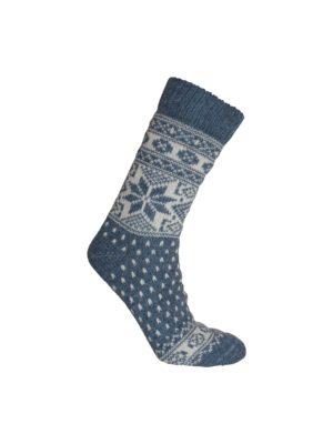 Nordlys mønstret sokk i ullblanding, blå. 7