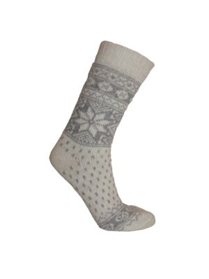 Nordlys mønstret sokk i ullblanding, hvit. 6