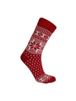 Nordlys mønstret sokk i ullblanding, rød 5