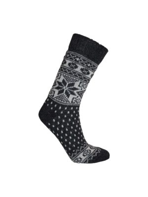 Nordlys mønstret sokk i ullblanding, mørk grå 4